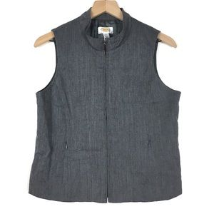 Talbots Petites 100% Wool Vest Grey Zip Up Fitted